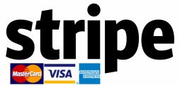 Stripe-logga med Mastercard, Visa, American Express